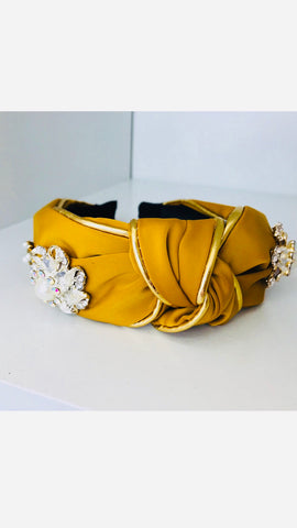 Grace Loves Claudia Mustard Pearl Stones Headband (Limited Edition)