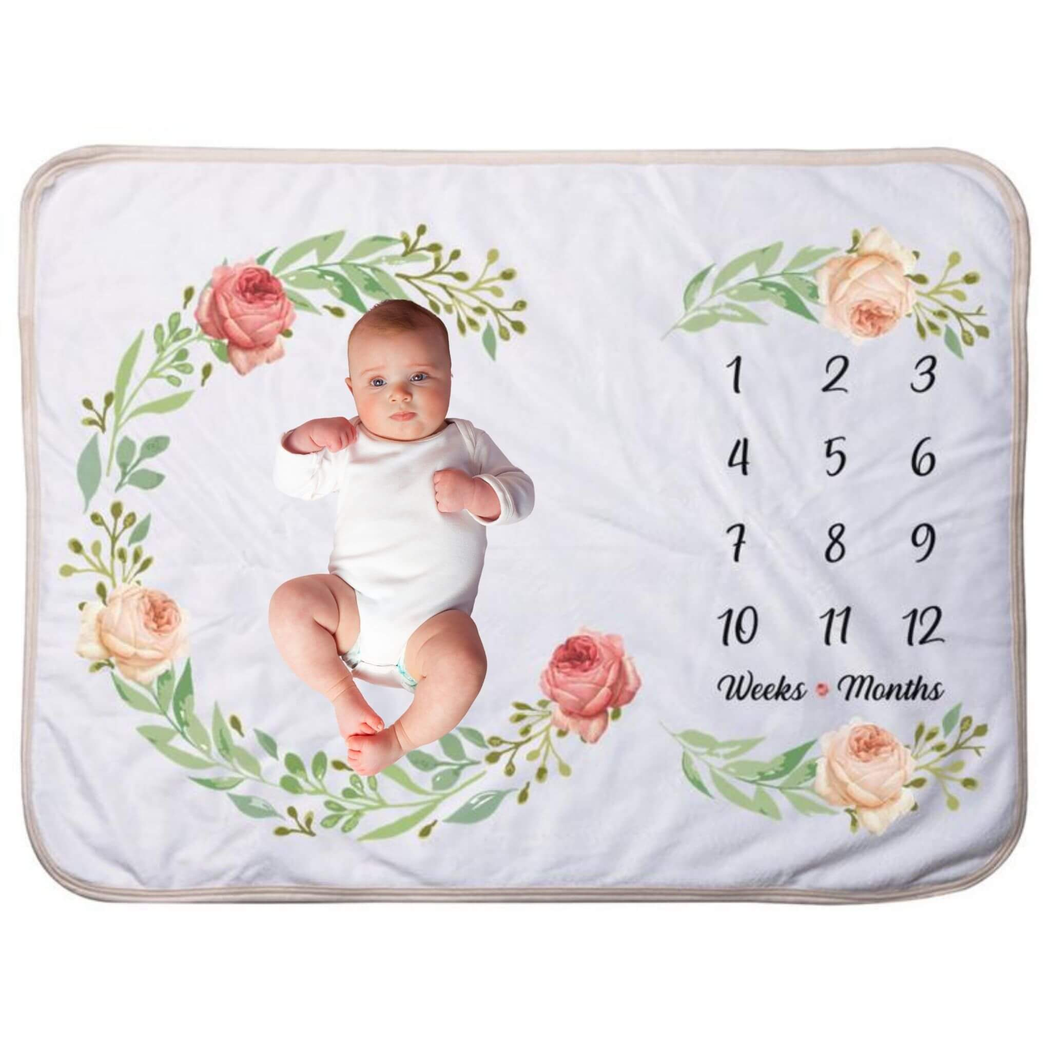 baby picture on a milestone blanket with floral