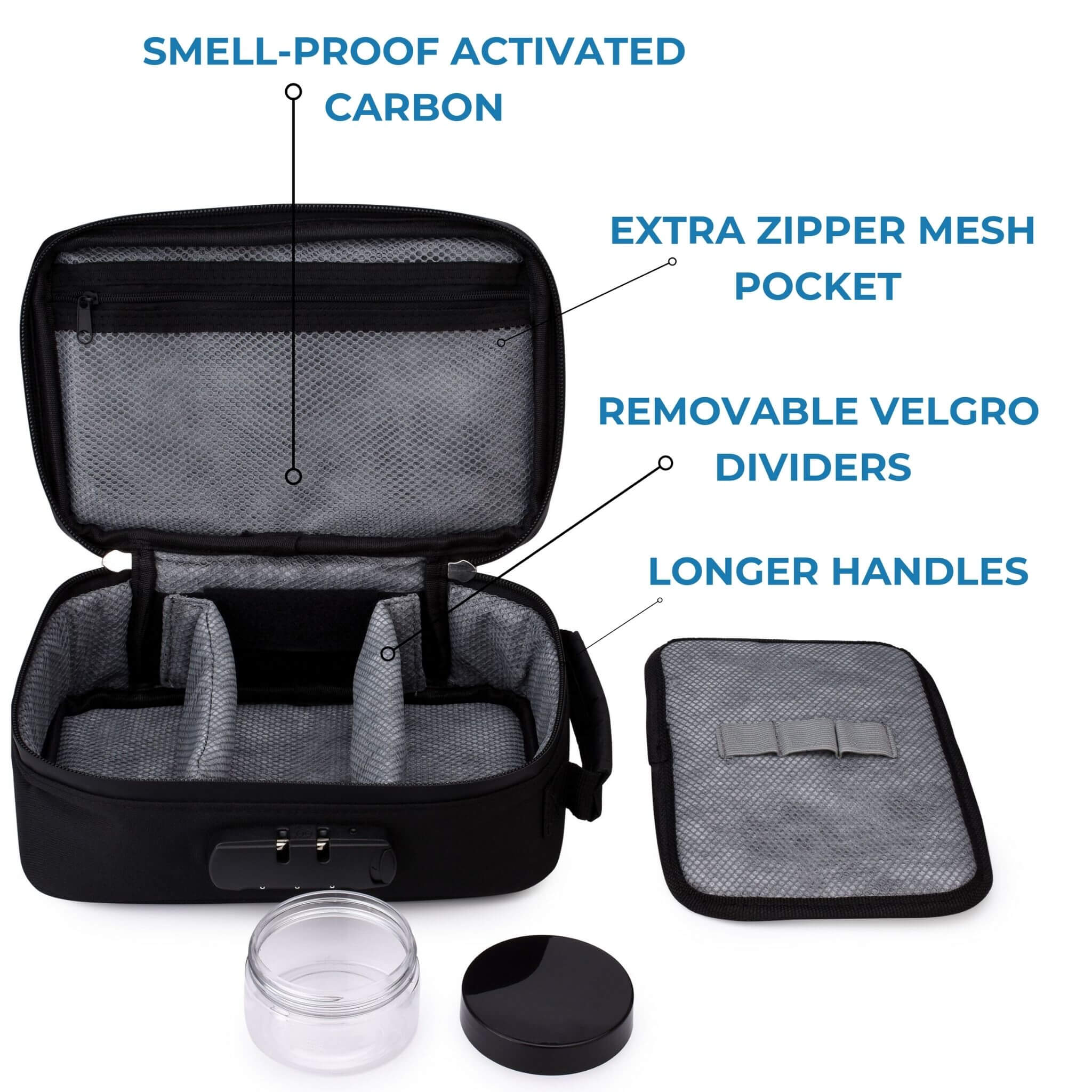 black smell proof case with infographic