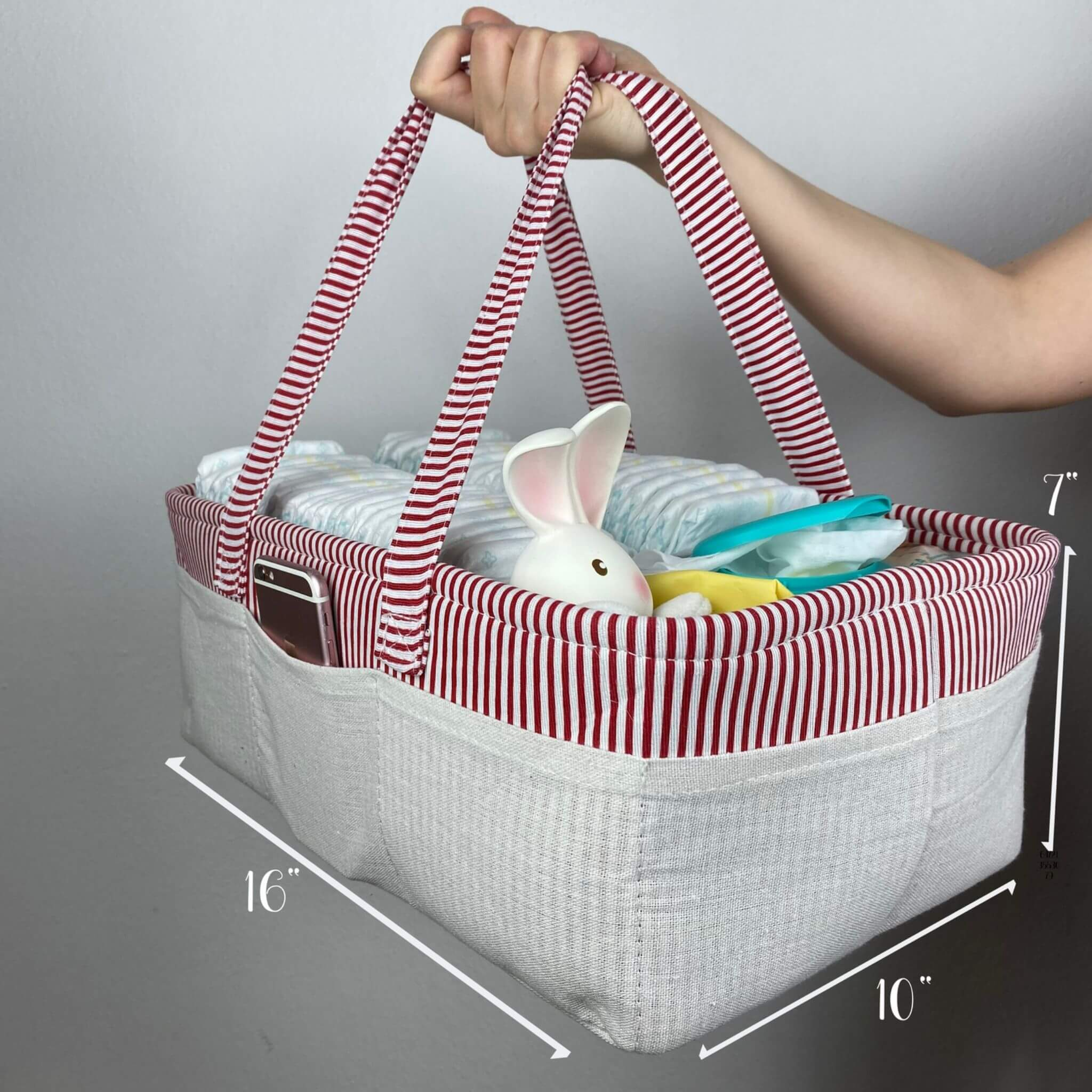 large diaper caddy red from we care vida