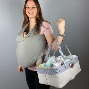 diaper stacker blue and a mother with a baby on the chest