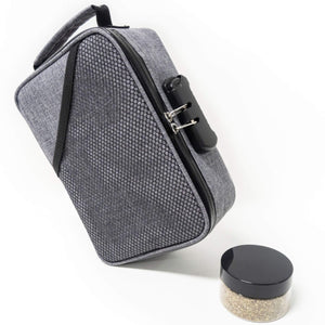 gray smell proof bag from we care vida