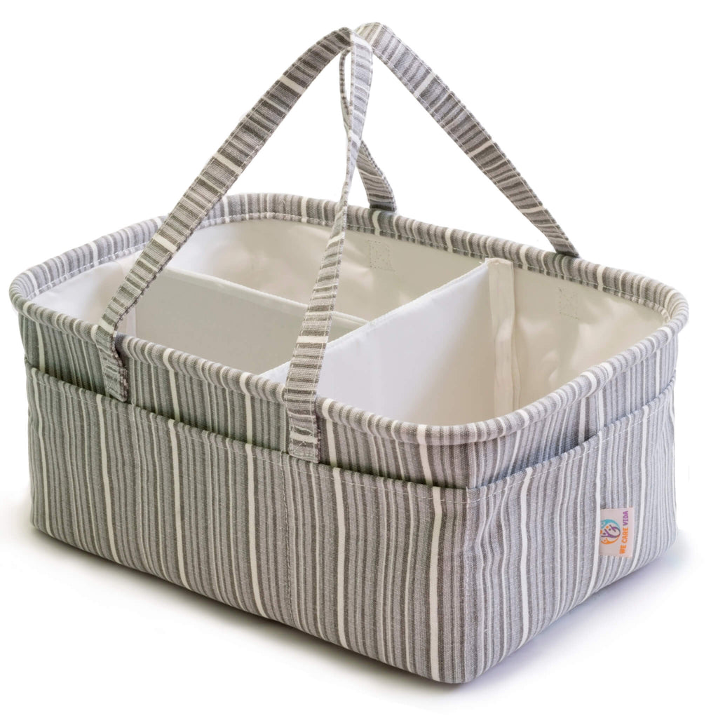 grey diaper caddy for changing station