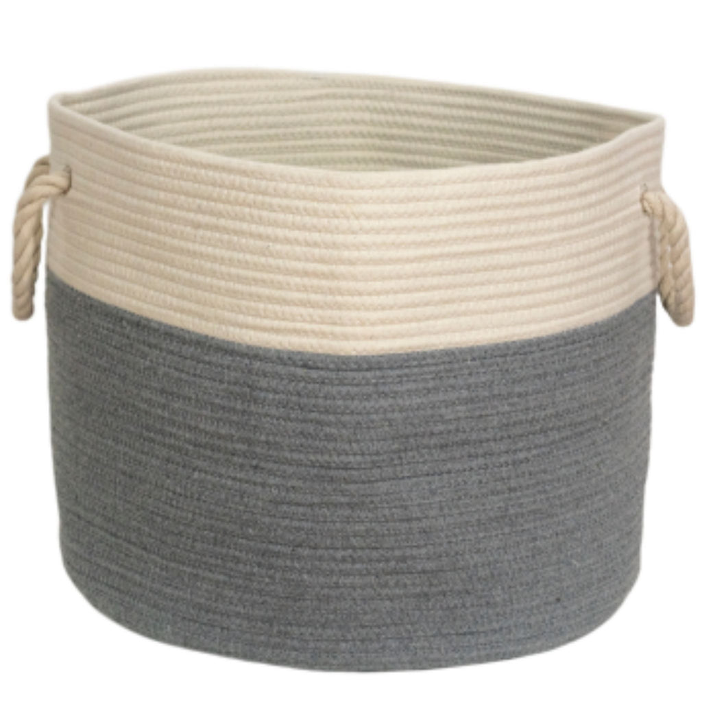 large grey rope basket handmade from natural cotton