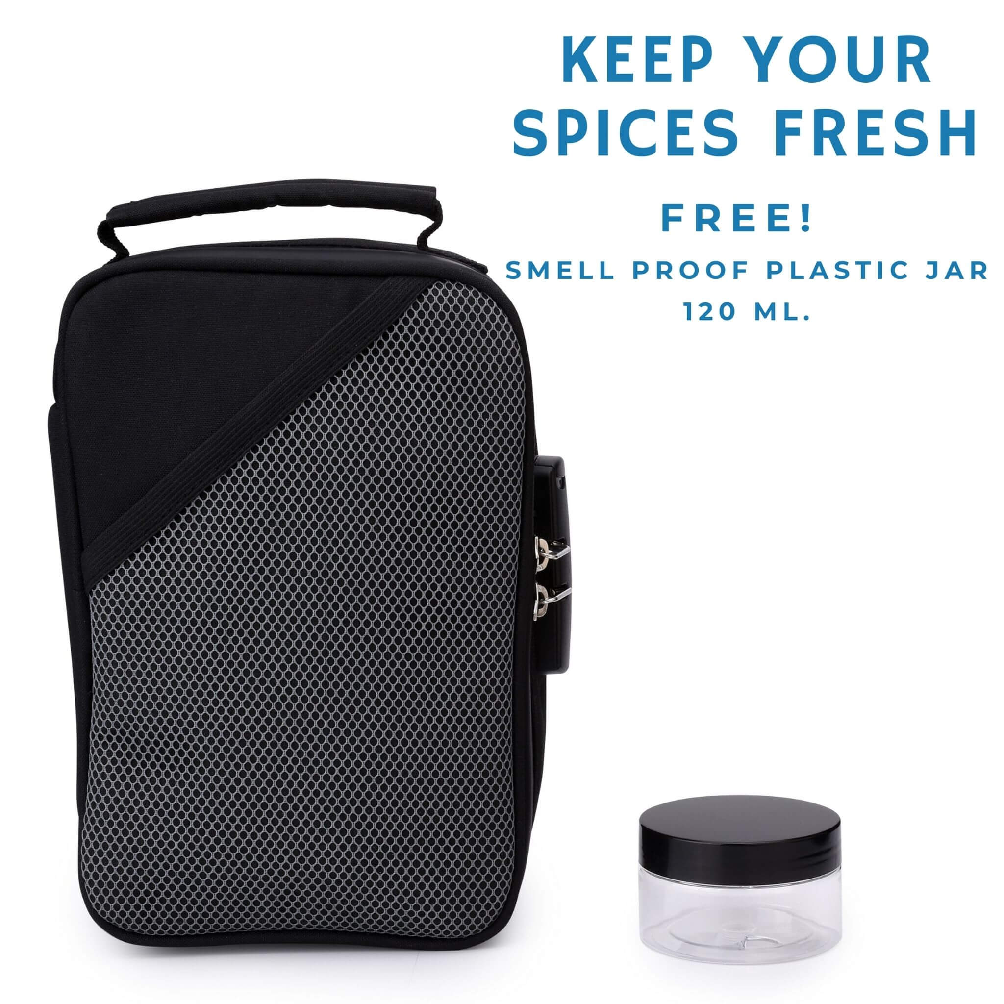 smell-proof bag with lock and bonus jar
