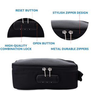 smellproof bag with combo lock in black color