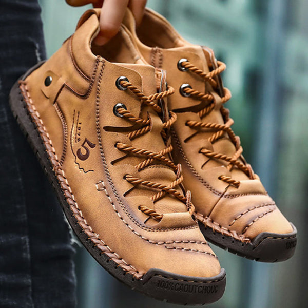 Stitching Vintage Microfiber Leather Lace Up Comfy Soft Ankle Boots