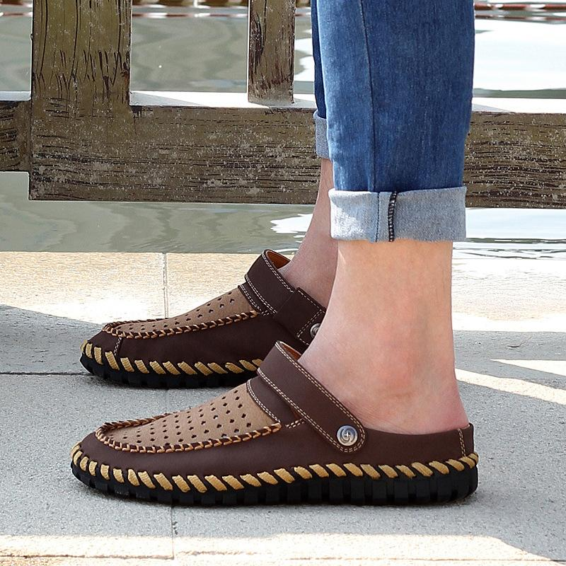 Non-slip Leather Daily Split Joint Slippers