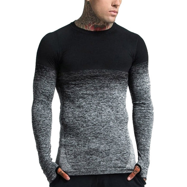 Slim-fit Round Neck Gradient Casual Long-sleeved T-shirt