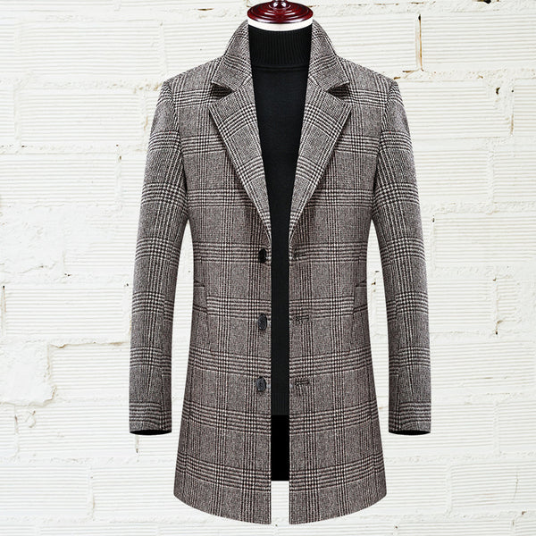 Mid-length Slim Plaid Woolen Coat