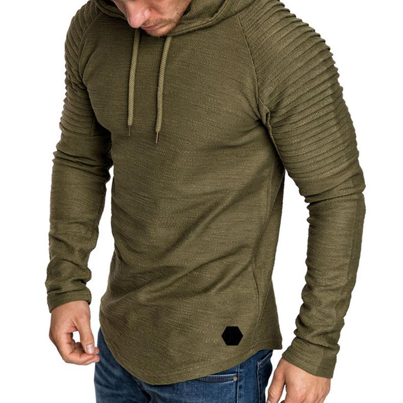 Solid Color Hooded Slub Pattern Muscle Personality Men's Sweater