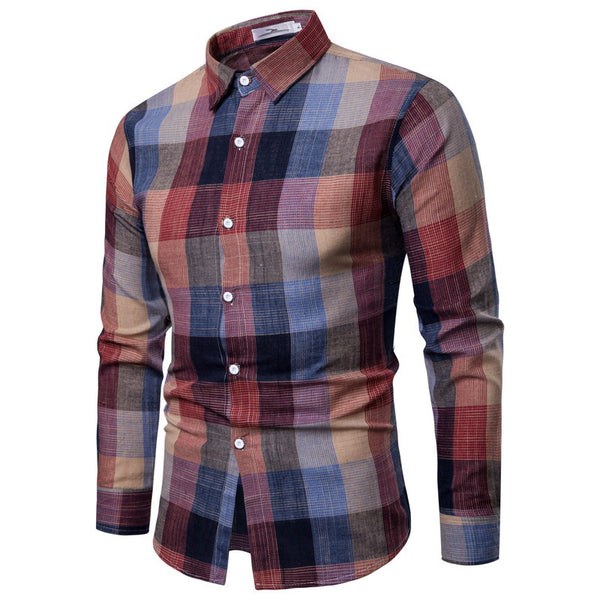 Slim Long-sleeved Shirt Casual Color Plaid Shirt