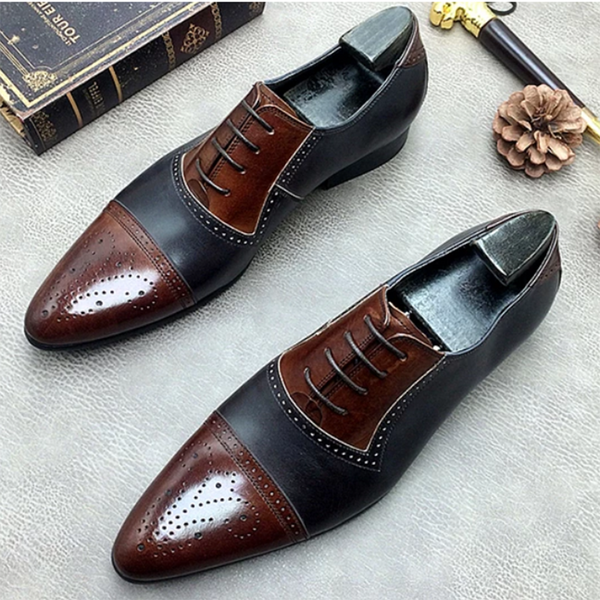 Hit Color Patchwork Oxford Men's Dress Shoes