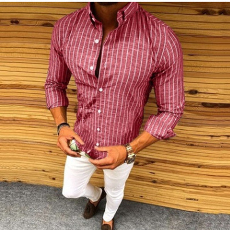 Striped Long Sleeve Button Lapel Casual Shirt