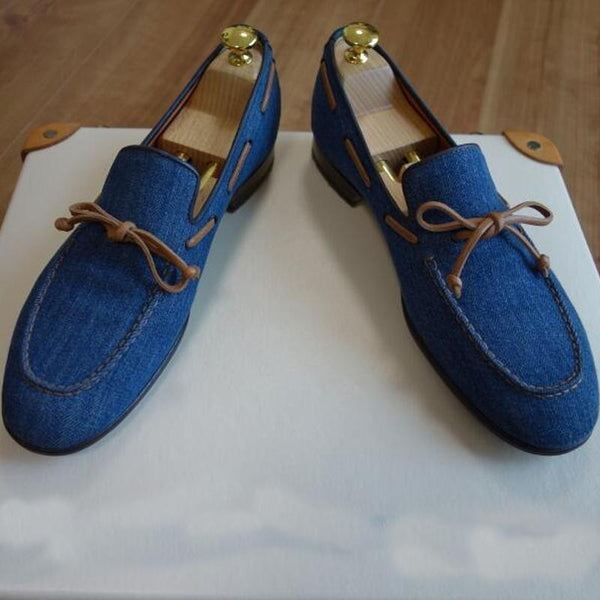 Blue Bow Tie Men's Loafers