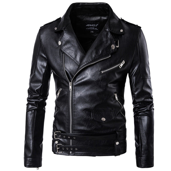 Men's Zipper Stand Collar Casual Leather Jacket