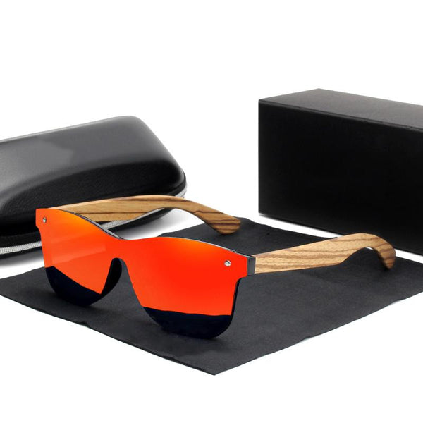 Polarized Square Zebra Wood Frame Sunglasses