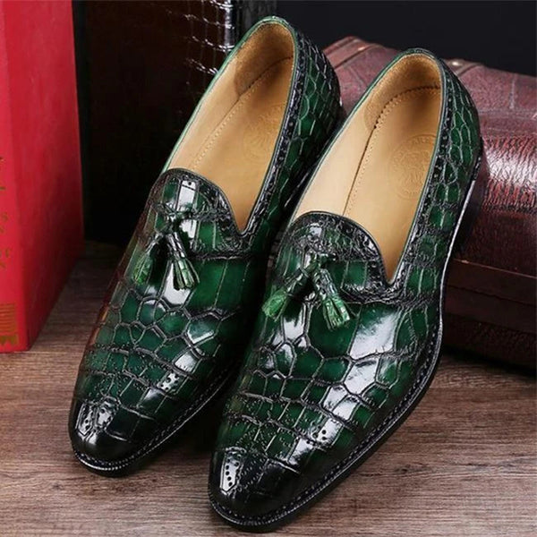 Men's Classic Alligator Leather Tassel Comfortable Slip-On Loafers