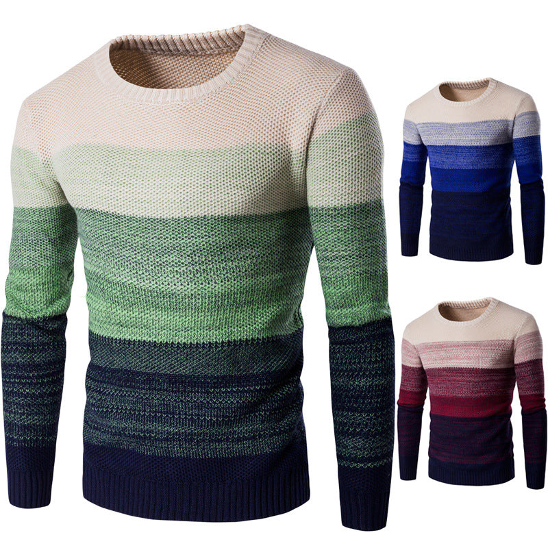 Round Neck Long Sleeve Striped Color Sweater