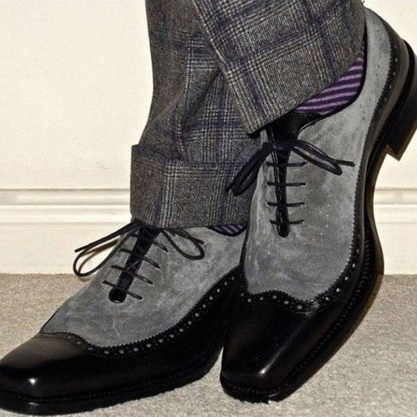 Handmade Two Tone Wing Tip Brogue Formal Shoes