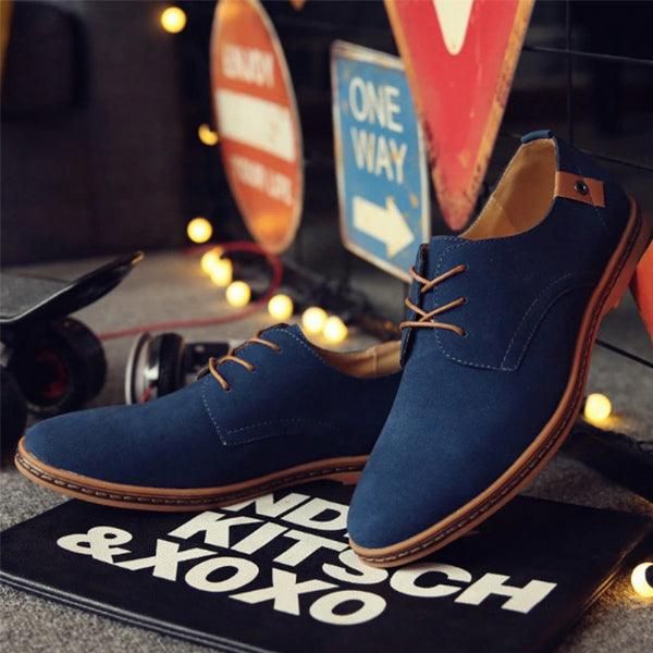 Men Lace Up Suede Oxfords Shoes