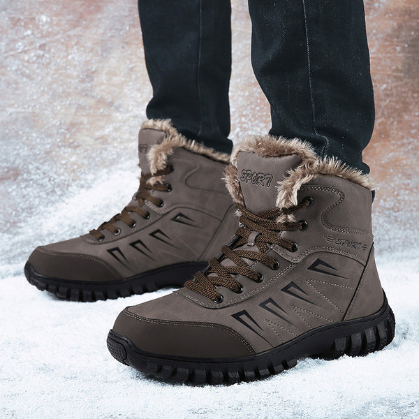 Men's Warm Plush Inner Rubber Sole Hiking Shoes