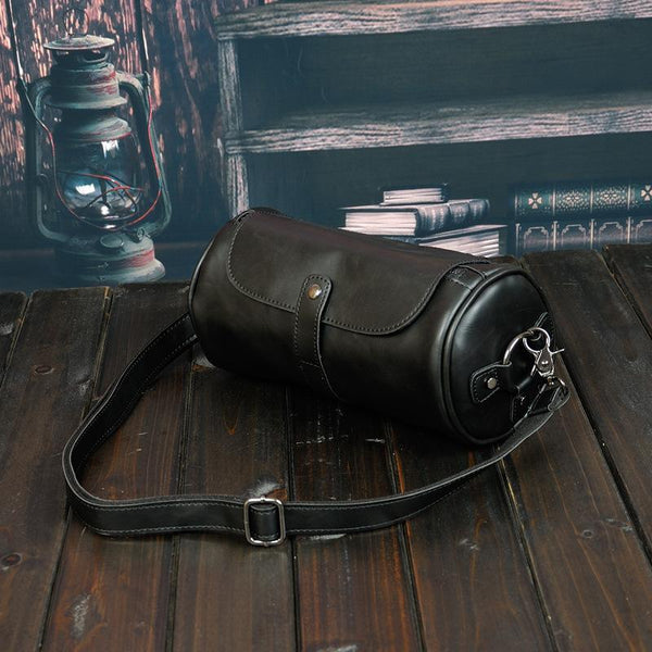 Vintage Cylindrical Leather Crossbody Bag