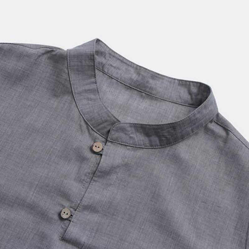 Men's Fashion Solid Color Cotton and Linen Middle Sleeve Shirt