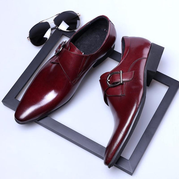 Men Business Pointed Toe Hasp Shoes