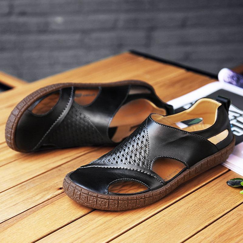 Breathable Cow Leather Slip Resistant Casual Sandals