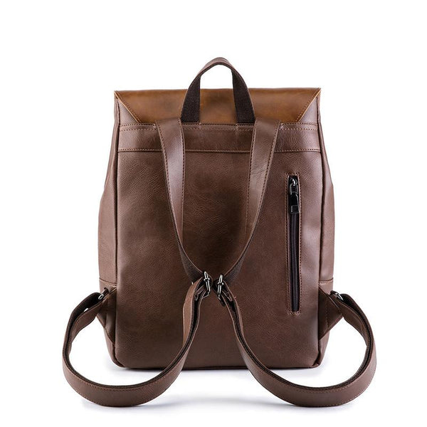 Retro PU Leather Men's Large Capacity Backpack