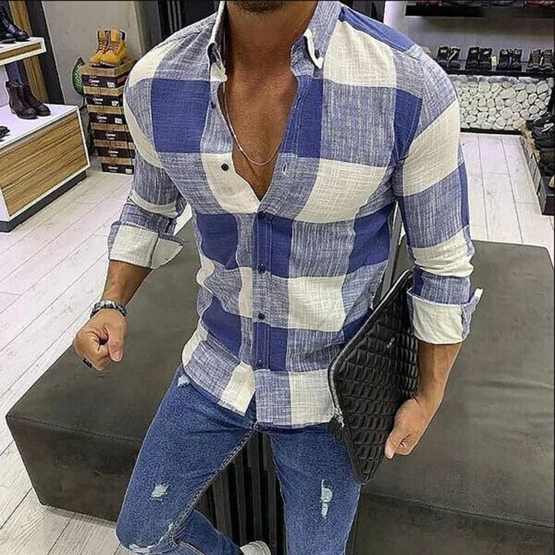 Striped Long Sleeve Slim Men's Shirt