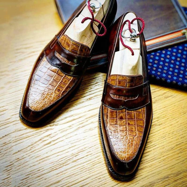 Men Slip-On Formal Penny Loafer Alligator Leather