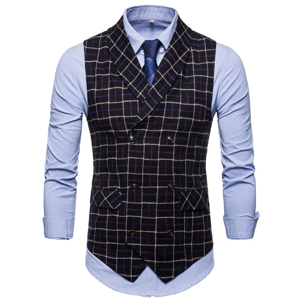 Plaid Casual Padded Suit Vest