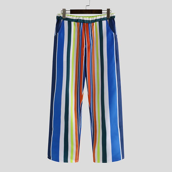 Fashionable Colorful Striped Elastic Waist Pants