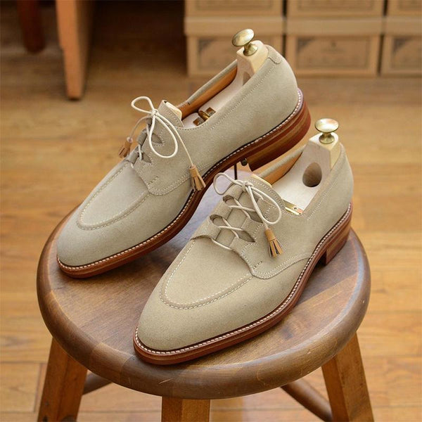 British New Suede Solid Color Lace-up Leather Shoes