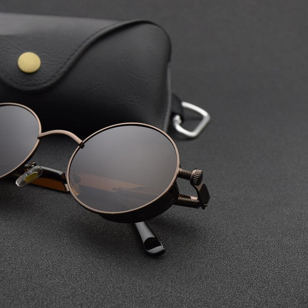 Gothic Retro Round Steampunk Polarized Sunglasses