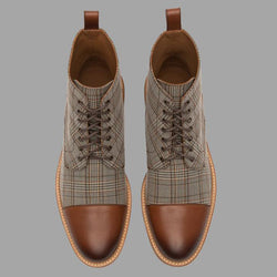 Round Toe British Plaid Lace-up Martin Boots
