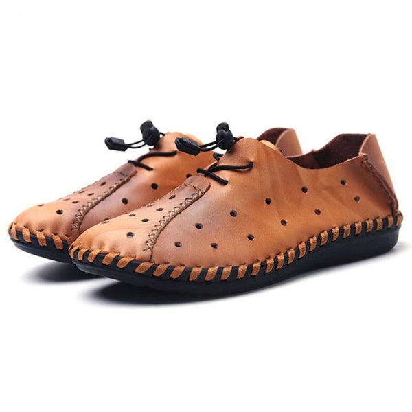 Cow Leather Breathable Lightweight Driving Hole Shoes