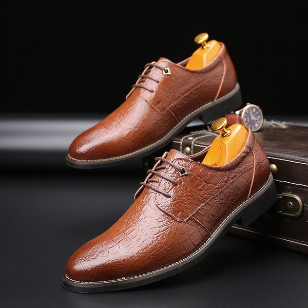 British Style Crocodile Pattern Pointed Toe Men's Dress Shoes