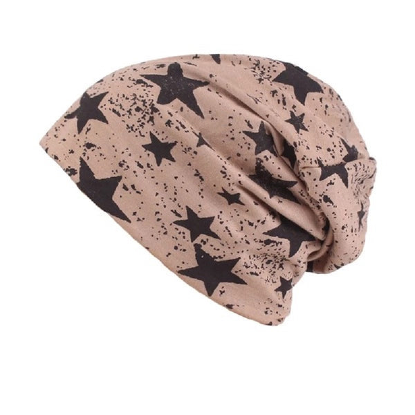 Soft Leisure Star Printed Casual Beanie Hat