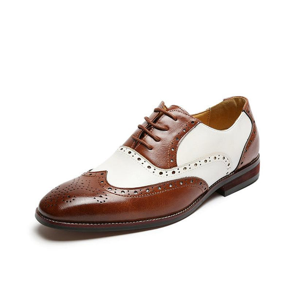 Carved Men's Pointed Business Casual Brock Shoes