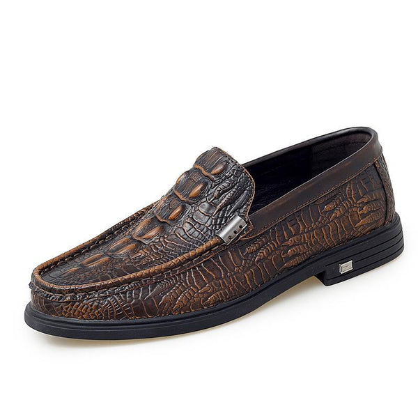 Men Retro Crocodile Pattern Non Slip Slip-On Casual Leather Shoes