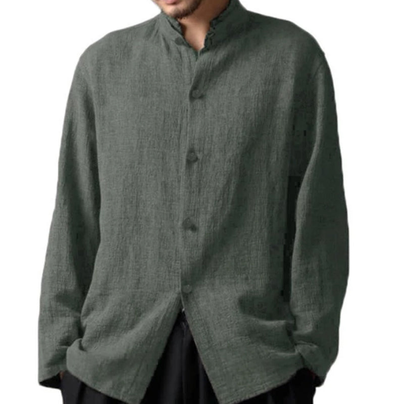 Men's Long-sleeved Cotton Casual Collar Loose Shirts