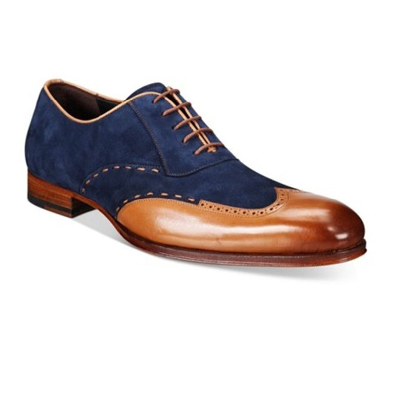 Men's Wingtip Tan and Navy Blue Suede Formal Shoes
