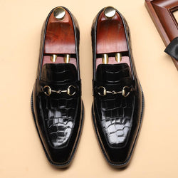 Metal Decoration Leather Men's Business Shoes