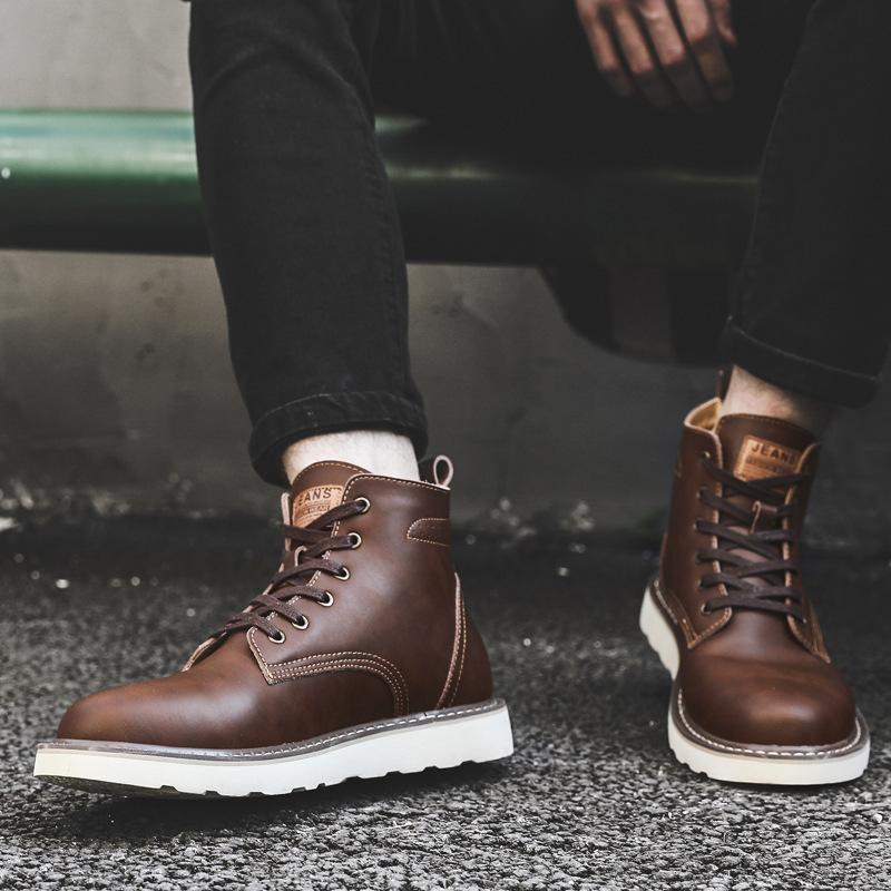 British Style Trendy All-Match Leather Boots