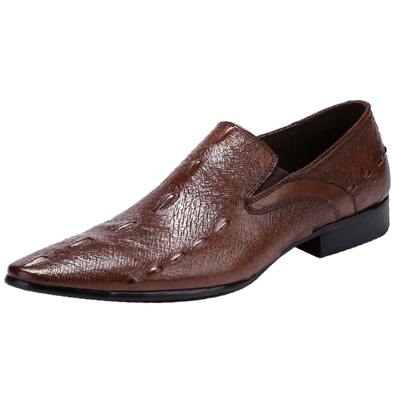 British Leather Crocodile Business Shoes-Brown