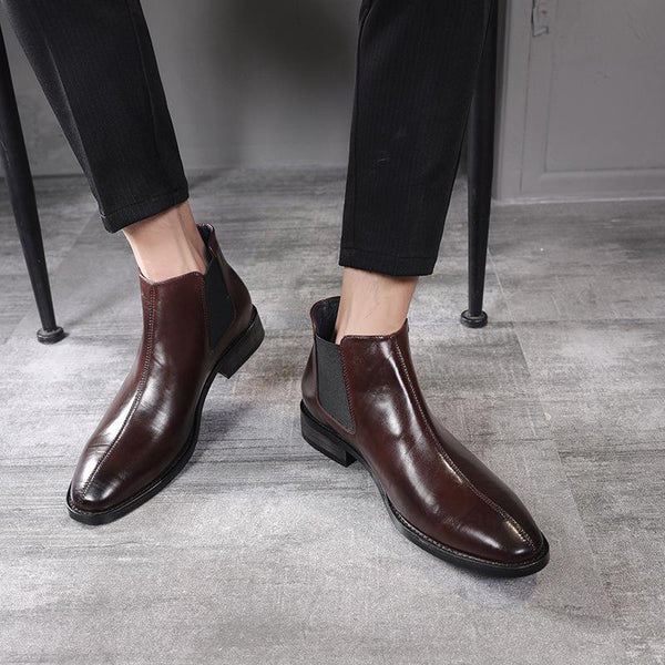 British Style Stylish Pointed Toe Chelsea Boots