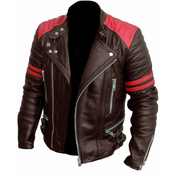 Biker Style Hit Color Casual Jacket